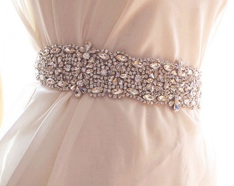 crystal sash applique, wedding sash applique, bridal sash applique ZP85