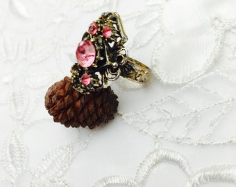 Victorian Ring, Pink Rhinestones, Adjustable Size, Antique Gold Tone, HALF OFF Sale, Item No. B807