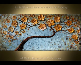 Original Heavy Palette Knife Texture art by Paula Nizamas calm warm soft colors