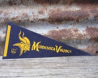 Vintage Minnesota Vikings Football Team 1970s Era NFL 11 Inch Mini Felt Pennant Banner Flag vtg Vintage Christmas Gift Stocking Stuffer