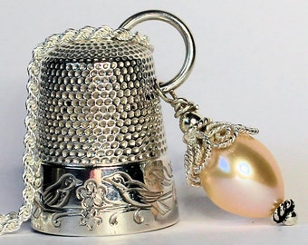 Antique Love Bird Thimble Peter Pan Kisses Necklace With Acorn Solid Sterling Silver