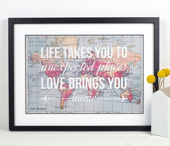 World map print travel poster map quote wanderlust poster like this item gumiabroncs Gallery