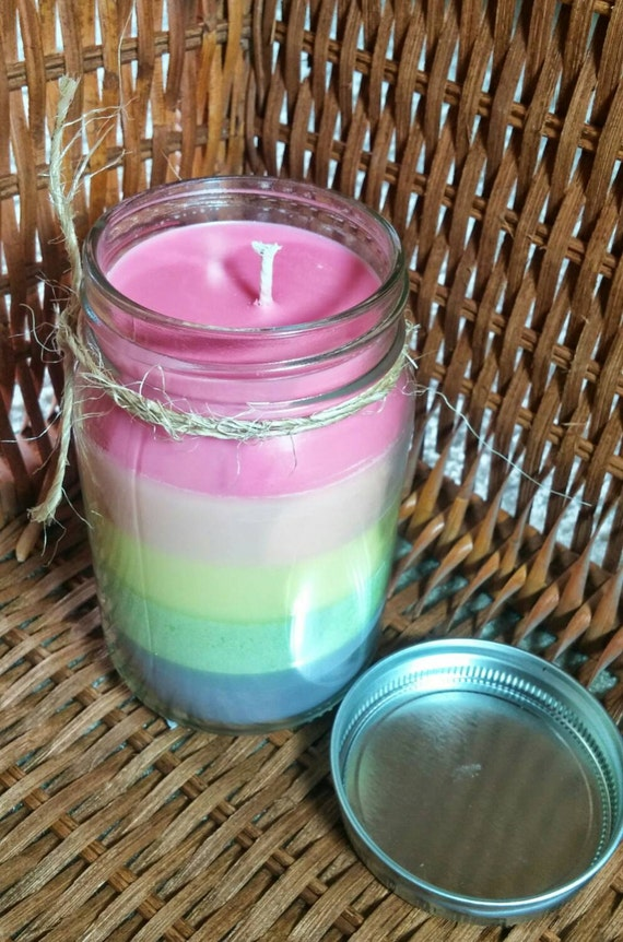 Pastel Rainbow Layered Soy Candle with Fruit Scents in 16 oz Canning Jar