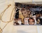 Mad men 60s style mod patent leather envelope or shoulder purse clutch