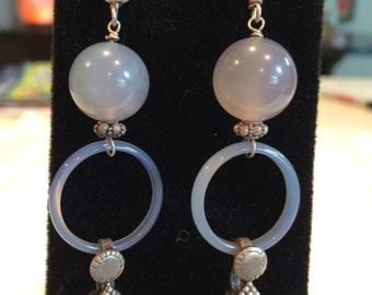 Lavendar jade boho dangle earrings