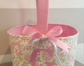 Monogrammed Easter Basket- Pink and Blue Paisley with Pink Dot