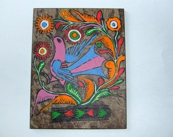 mexican  folk art, birds, natural paper, organic art, vintage artwork, neon amate paintings
