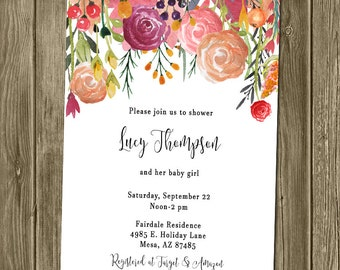 Baby Shower Invitation - Floral/Watercolor
