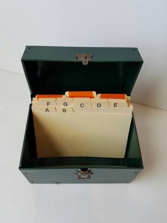 Vintage Metal Address File Box 4x6 Alphabetic Dividers Green
