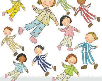 Childrens Sleepover Clipart - Boys and Girls - Instant Download - Pyjama Party Clip art