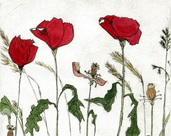 red poppies archival print