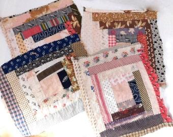 Vintage Quilt Blocks - Feedsack Log Cabin Scraps, Craft Supplies, Crafting Supplies Quilt Square, Primitive  Handsewn Quilt Piece