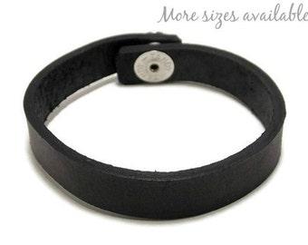 Black Leather Bracelet, Half Inch Leather Bracelet, Leather Cuff Bracelet, Gifts Under 8