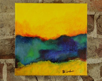 Small Yellow Abstract 8 x 8