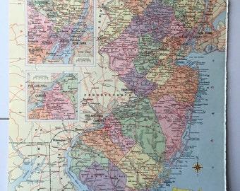 Vintage 1965 Hammond's World Atlas Map Page (New Hampshire on one side and New Jersey on the other side)