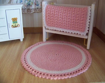Dollhouse Miniature Hand Crocheted Circular Pink & White Area Rug (Made from Bamboo Thread)