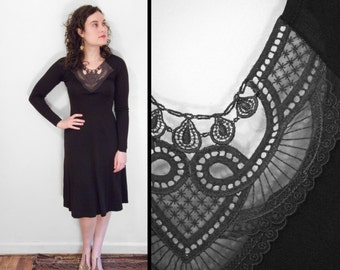 LACE Bodice Dress 1970s Disco Black Spanish Goth Stretch