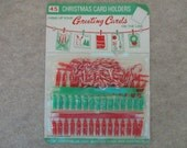Vintage Christmas Card Cord Line and MINIATURE Clothes Pins Card Holders Red and Green Plastic 1960's Christmas Card Holder