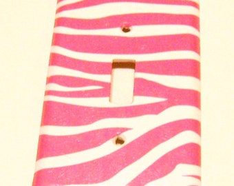 Pink & White Zebra Print Light Switch Cover