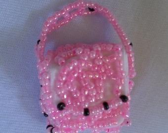 Handmade Purse Charms Glass Beaded Pink and Black