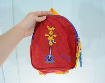 Back to School Adorable Tiny 1978 Preschool Felix Rabbit Backpack Made in Germany by Die Spiegelburg
