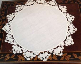 Two Vintage Doilies with Crocheted Edging on White Linen Circle