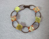Dichroic Fused Glass Bracelet , Fused Glass Jewelry, Gold and Amber Dichroic Squares, Copper Bracelet
