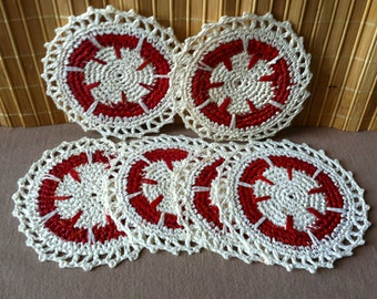 "Vintage 80's  ""KNITTED PATTERNED COASTERS"" Set of 6"