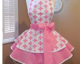Pink Remix Crosses Woman's Retro Apron With Tiered Skirt And Bib...Ready To Ship