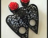 PICK SIZE Black Planchette Witch  Acrylic Laser Cut dangle plug ear gauges Plugs