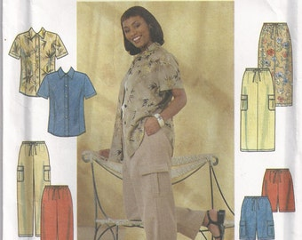 Short Sleeved Shirt Pull On Straight Pants Or Shorts And Skirt Plus Size 18W 20w 22w 24w Blouse Sewing Pattern 1999 Simplicity 8659