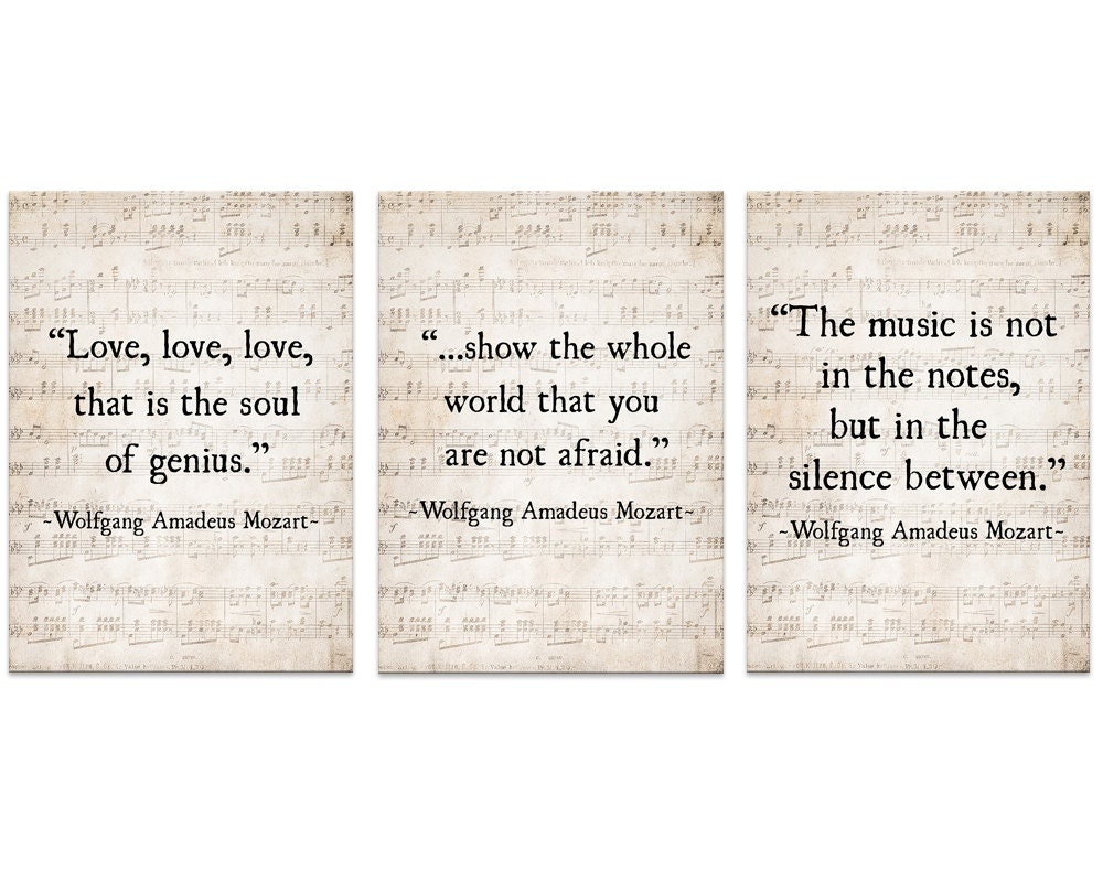 Music Quote Wolfgang Amadeus Mozart Quote Set of Three MusicWolfgang Amadeus Mozart Music List