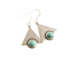 Tribal Jewelry Silver and Turquoise Triangle Earrings