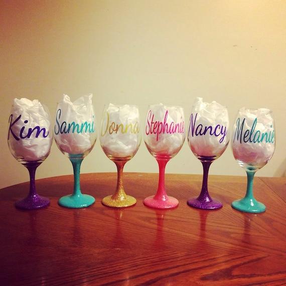 Wine Glass Glitter Stem Wine Glass Personalized Wine Glass