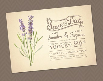 Lavender Save the Date -  DIY Printable Rustic Vintage Wedding