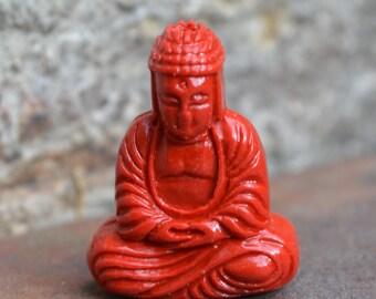 Small cinnabar sitting Buddha pendant bead  CB101