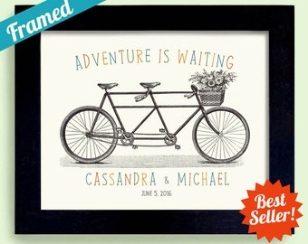 Just Married Wedding Gift for Newlywed Couple Adventure Awaits Wedding Sign Personalized Wedding Gift Tandem Bicycle for Two Framed Art