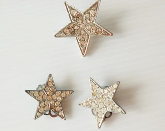 star brooch with matching star clip earrings, silver color metal with rhine stones, custom jewelry, gift under 10 dollar