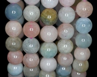 10mm Beryl Morganite Gemstone Grade AA Pink Multicolor Round Loose Beads 7.5 inch Half Strand (90183562-788)