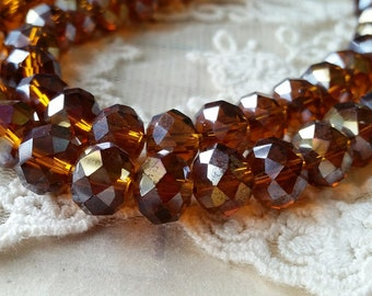 8 x 10 mm 48 Faceted Cut Rondelle AB Brown Color Glass / Crystal / Lampwork Beads / Electroplate bead (.mcu)