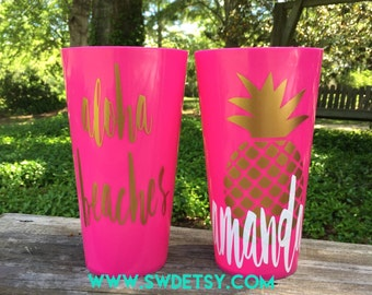 ALOHA BEACHES Pineapple Personalized Reuseable Cups, Bachelorette Tumblers - Set of 4 - Party Cups personalized on BOTH sides, Bachelorette
