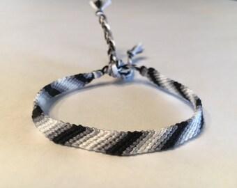 Black & White Ombre Striped Friendship Bracelet