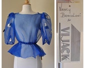 50% OFF Sheer Royal Blue Blouse with Puffed Sleeves Vintage Puff Sleeve Blouse New With Tags Still Attached Size Small Medium by Nancy Braco