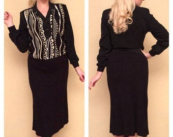 CLEARANCE Lurex Two Piece Metallic Knit Black Sweater and Skirt by Phiippe Marques Size 6 Below the Knee Rockabilly Pinup VLV Size Small Med