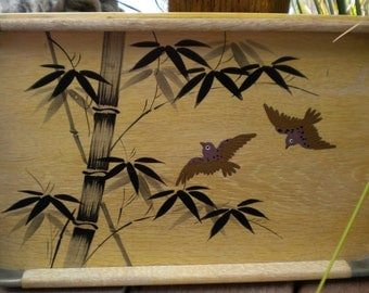 Bamboo and Brass Serving Tray Birds Bamboo Wooden Black Bronze Gold Made in Japan Home Decor Wood Serving Tray Vintage