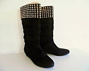 ROBERTA Di CAMERINO . The Black Pirate . Awesome Slouchy Studded Golden Studs Black Suede Leather Boots 1980s 80s Uk 3.5 Us 5.5 Eu 36