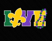Mardi Gras Love -svg, eps, ai, dfx Formats for heat transfer vinyl, vinyl, cutting file,
