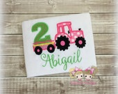Pink Tractor Birthday Shirt- Tractor hauling number- Green and pink