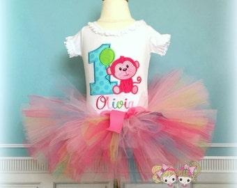 Birthday Monkey Tutu Set- Birthday Outfit- Pink Monkey- Pinks, Blue, and green