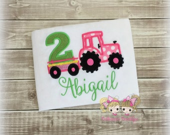 Pink tractor birthday shirt - girls tractor birthday shirt - 1st birthday shirt - first birthday - embroidered birthday shirt for girls